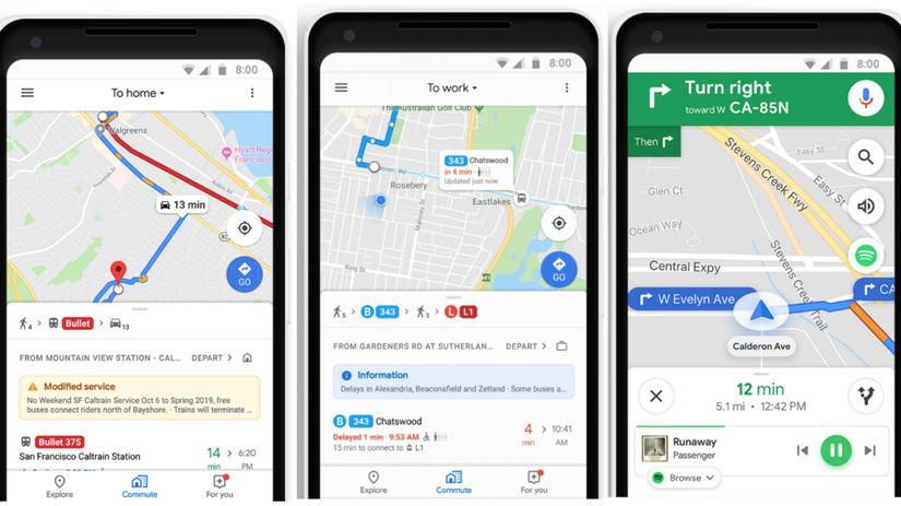 Mapy Google, navigácia