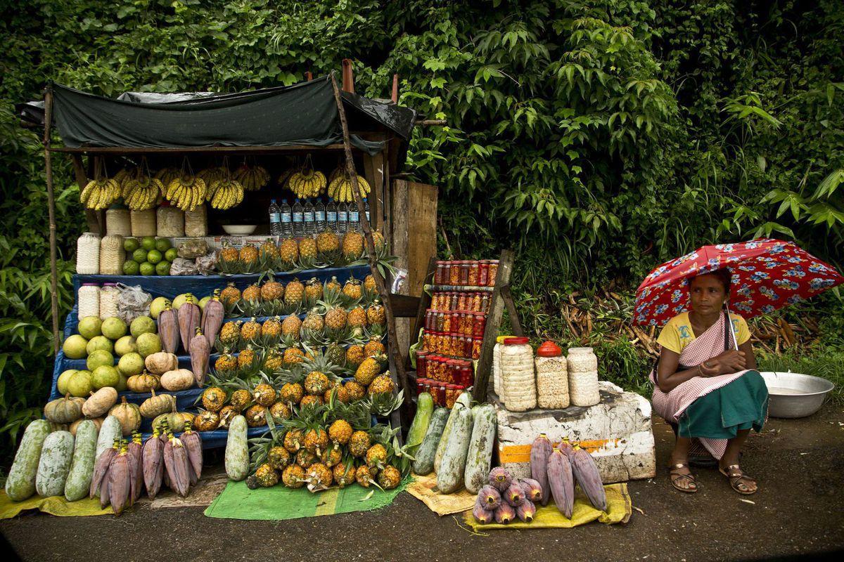 India, trhovisko, predaj, tovar, dáždnik