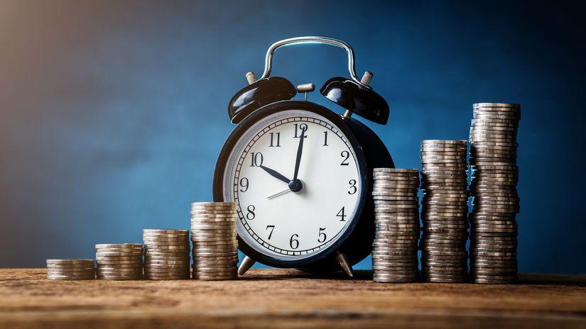 peniaze, hodiny, účet, úspory