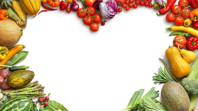 zdravá strava, zelenina, srdce, jedlo