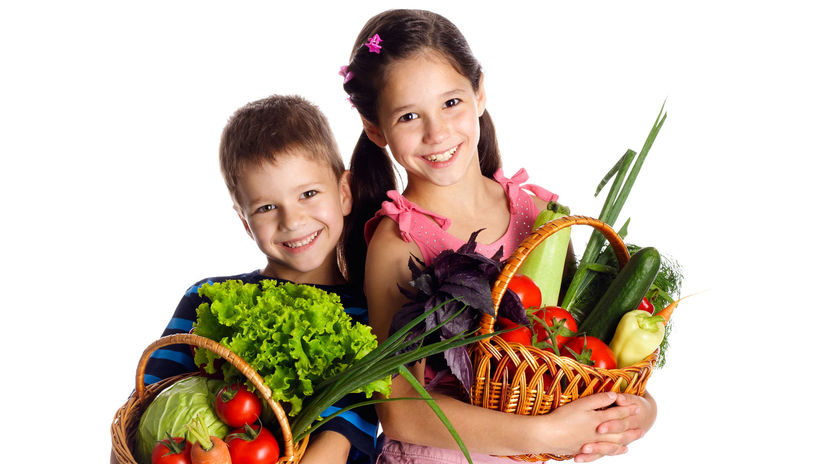 deti, nákup, potraviny, zelenina