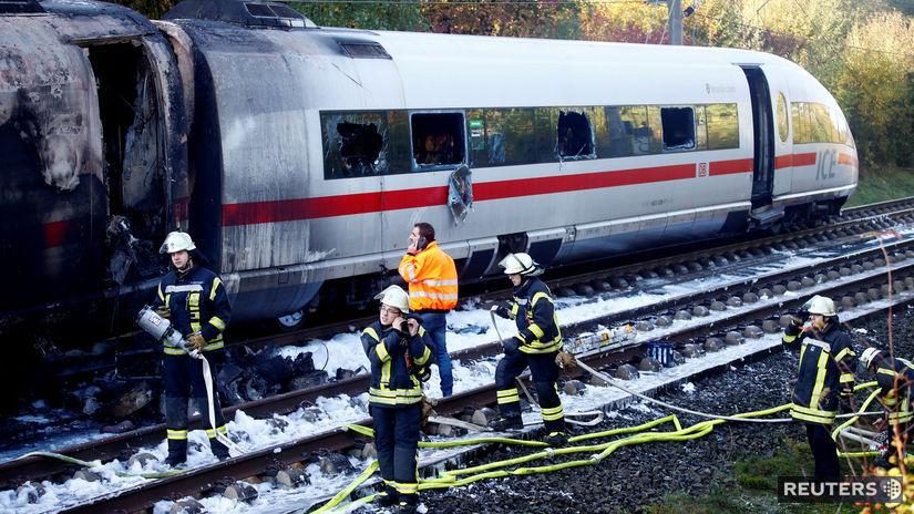 nemecko, vlak, požiar
