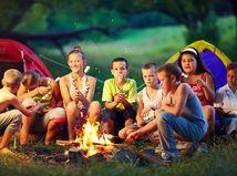letný tábor, deti, táborák