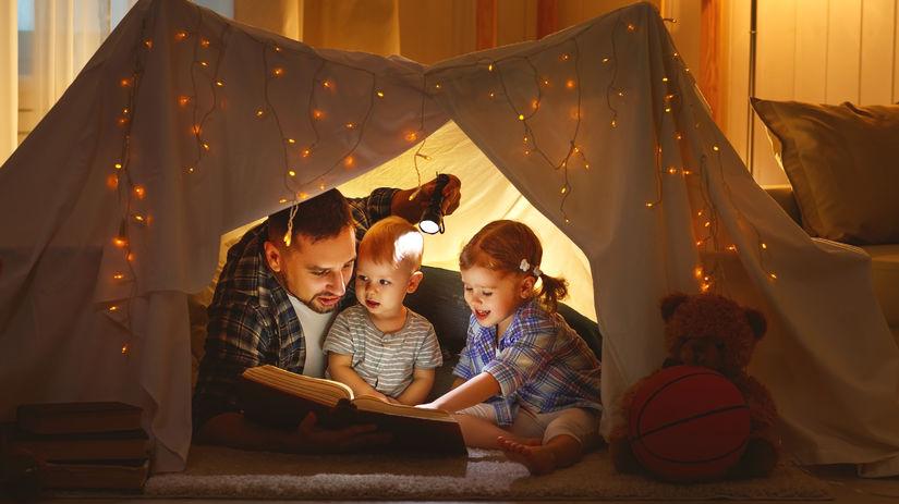 otec, deti, rozprávky