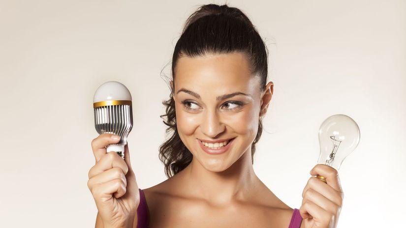žena, žiarovka, osvetlenie