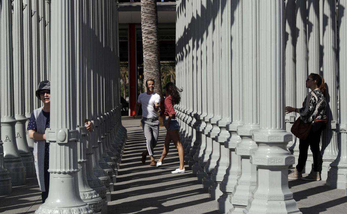 Kalifornia, tanec, stĺpy, pár, svojica, tancovanie, Los Angeles