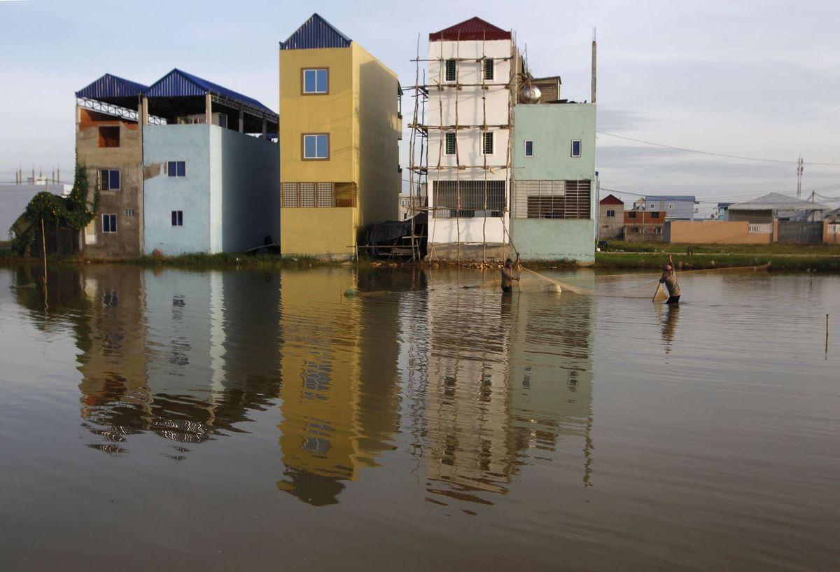 Kambodža, záplava, domy, voda