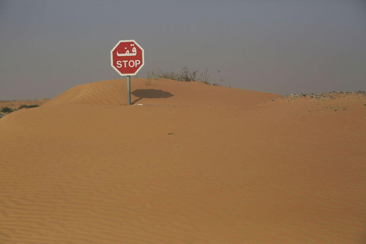 značka, stop, púšť, piesok