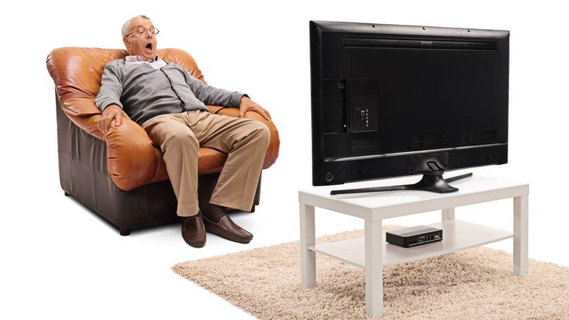 televízia, senior, dôchodca