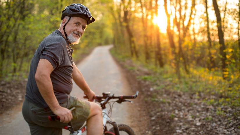 cyklista, bicykel, dôchodca, pohyb
