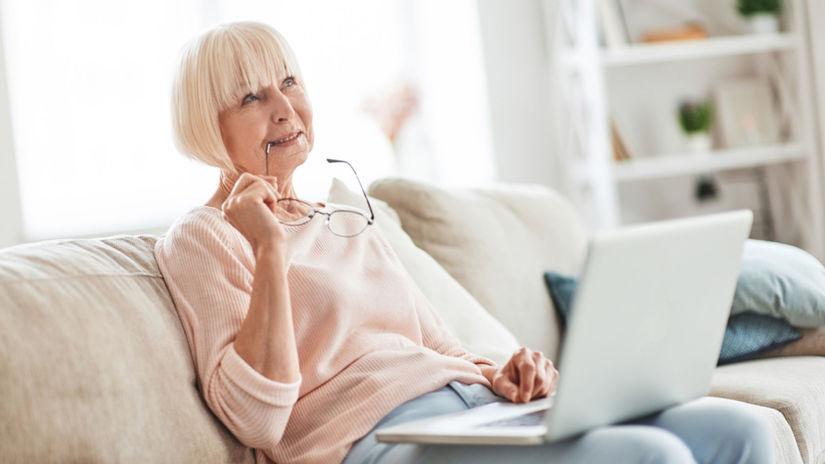 žena, dôchodkyňa, počítač, dôchodok