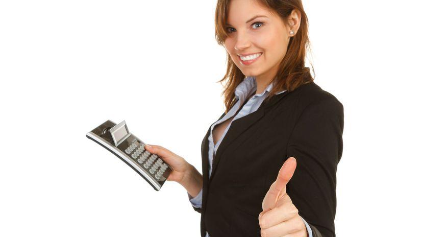 žena, kalkulačka, účtovníctvo