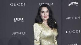 Herečka Salma Hayek stavila na zlaté šaty.