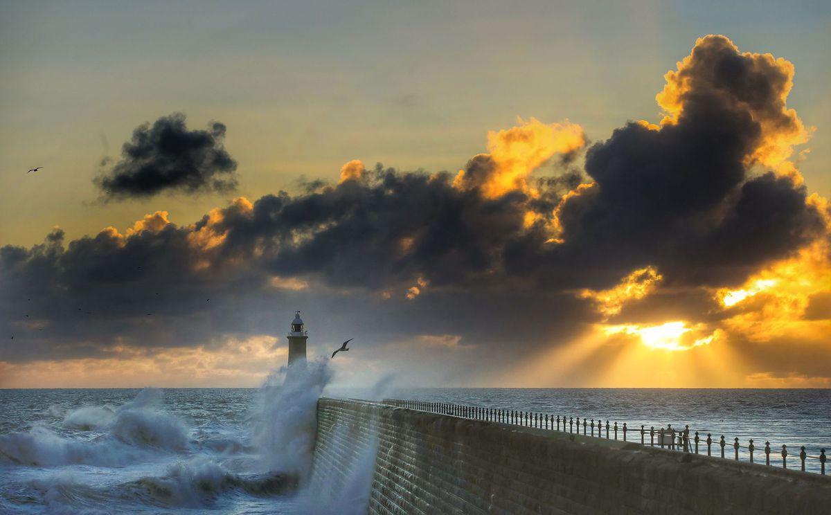 maják, more, vlny, oceán, mólo, vlnobitie,