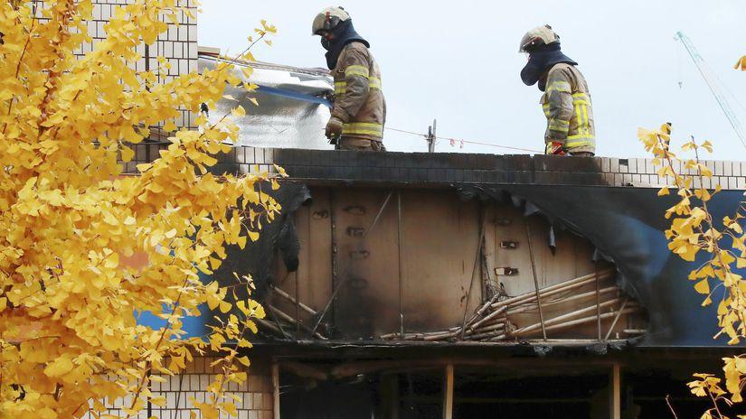 Južná Kórea, požiar, budova, hasiči