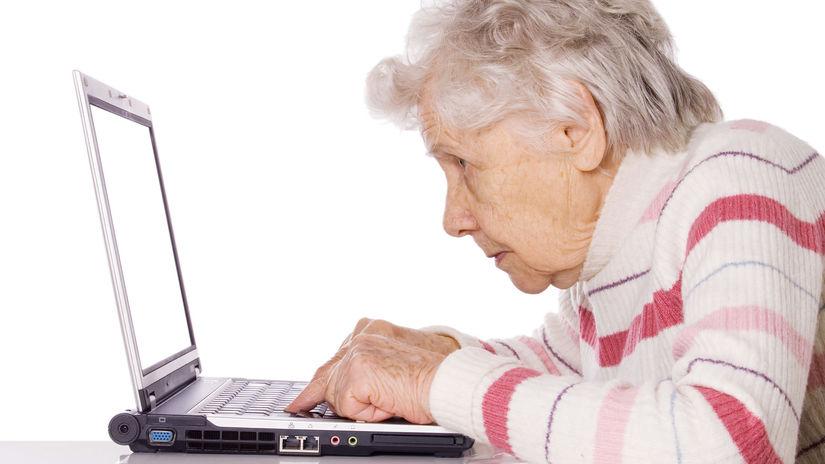 babka, senior, počítač, dôchodkyňa