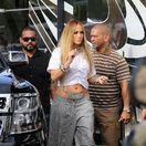 Speváčka a herečka Jennifer Lopez pri nakrúcaní videoklipu v Miami.
