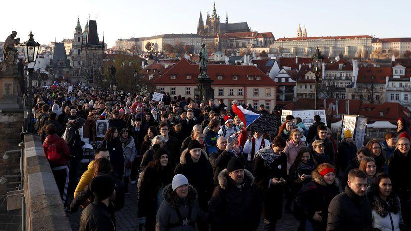 Česko Babiš demonštrácia demisia praha,...