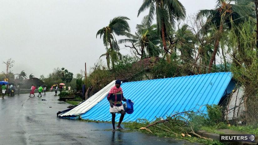 india, cyklón, počasie, cesta, dom, trosky