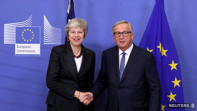 Brexit EÚ Mayová Juncker, Brusel