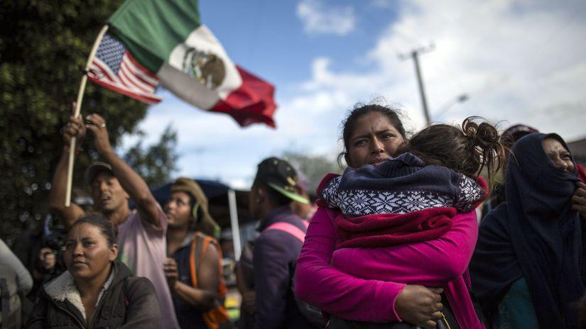 Tijuana, Mexiko, hranice, migranti, karavána