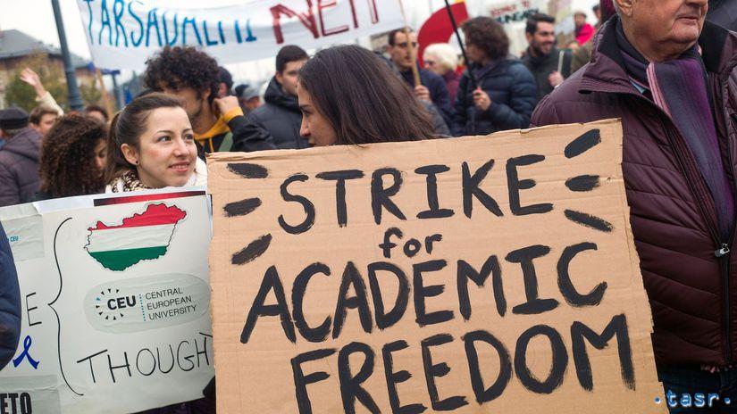 Maďarsko CEU vzdelávanie sloboda protest
