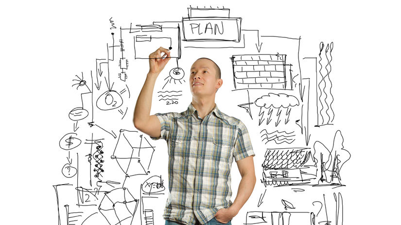 študent, škola, plány, brainstorming