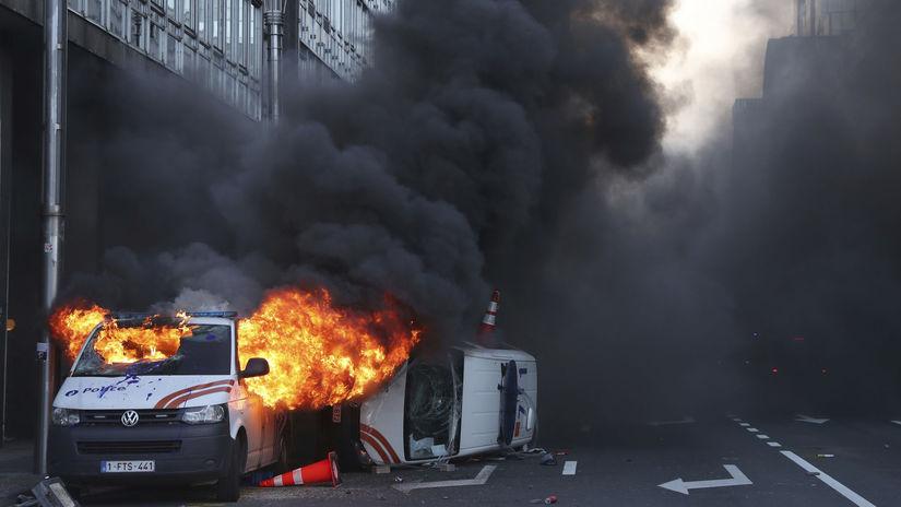 Belgicko, protest, oheň, dodávka, demonštrácia,...