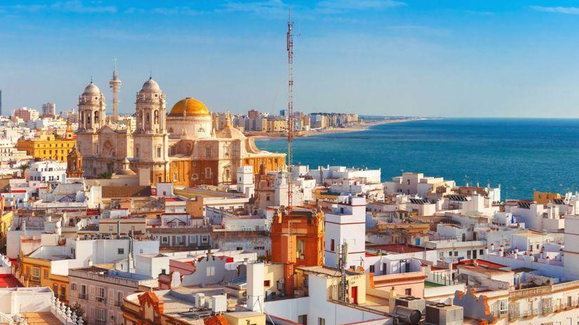 Cádiz, Španielsko, Andalúzia, more, mesto