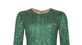 Dámske flitrované šaty Pinko, predávajú sa za 880 eur.