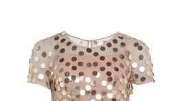 Zlaté dámske šaty s aplikáciami French Connection, predávajú sa za 138 eur.