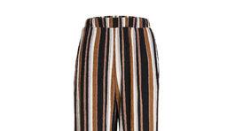 Dámska pruhované nohavice s detailmi v škoricovej farbe.