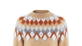 Dámsky zmesový sveter s detailom škoricovej farby Mango, info o cene v predaji.