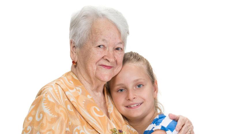 babka, vnučka, seniorka, dôchodkyňa, rodina