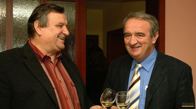 Dve veľké postavy moravského a slovenského vína: Miloš Michlovský (zľava) a Fedor Malík.