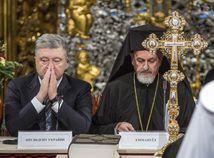 Ukrajina. Katedrála sv. Sofie, Kyjev. Porošenko, pravoslávna cirkev