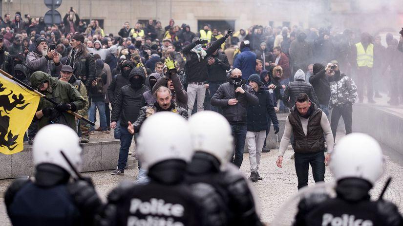 Belgicko, Brusel, protest, migračný pakt,