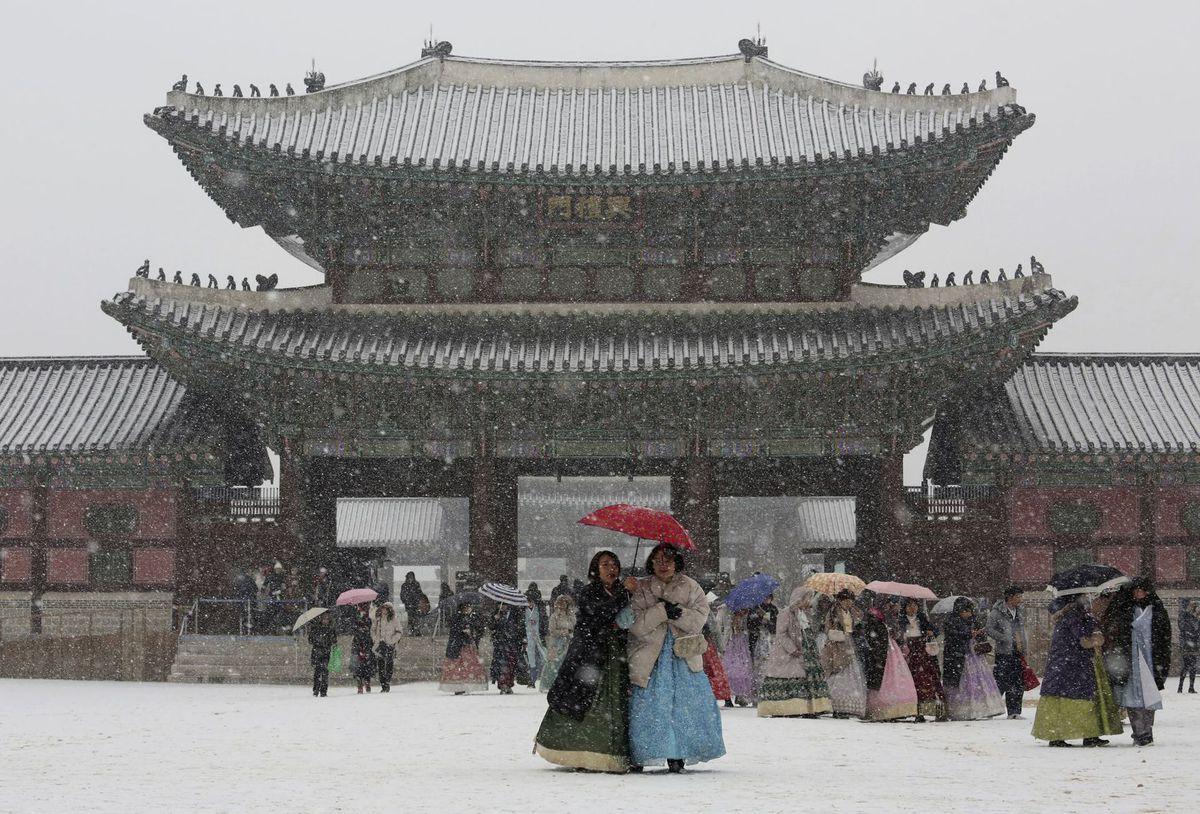 Južná Kórea, sneh, zima,