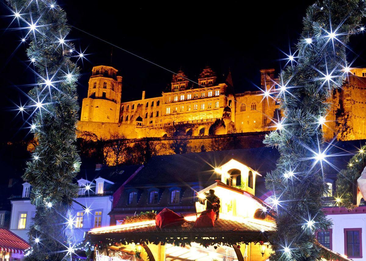 Nemecko, Heidelberg, Vianoce, stromček, ozdoby, svetielka, sviatky,