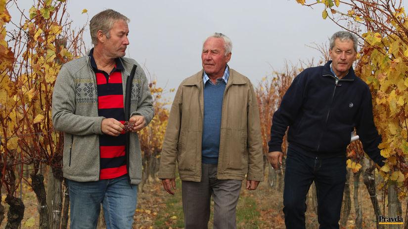 Vinárska rodina Michálekovcov: Otec Pavol so starším synom Pavlom (vľavo) a mladším Jaroslavom.