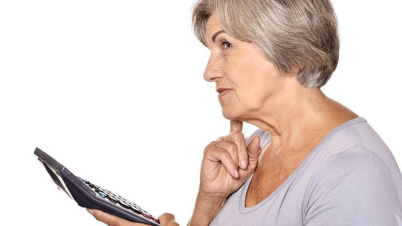 dôchodok, seniorka, kalkulačka