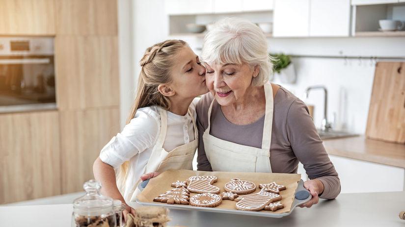 pečenie, babička, vnučka, vianoce, medovníky