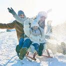 sánkovanie, zima, sneh, rodina, dovolenka, cestovanie