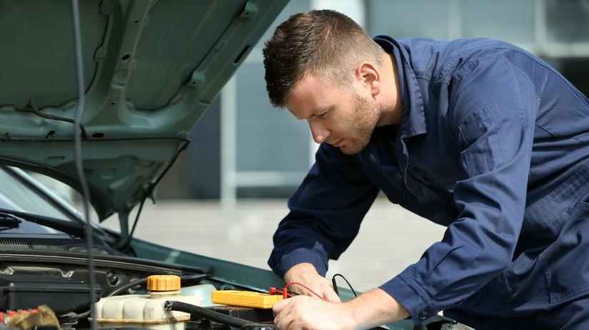automechanik, muž, práca, auto