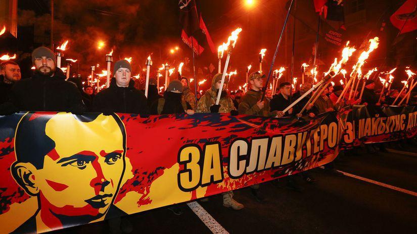Fakľový pochod stúpencov Stepana Banderu,...