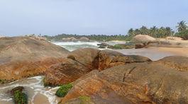 pláž, Kirinda, balvany, more, Srí Lanka