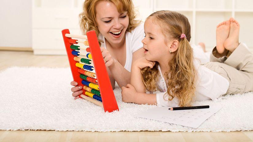 matka, dieťa, dcéra, počítanie, zábava, hra
