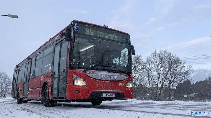 Bratislava počasie sneženie doprava autobus mhd