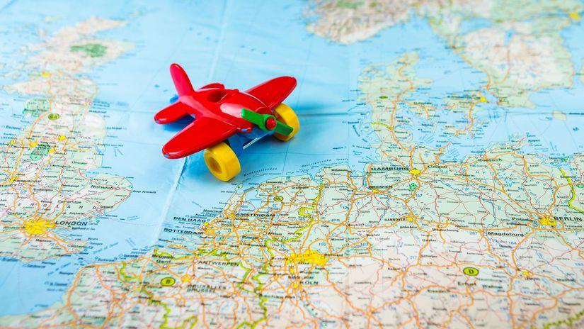 mapa, lietadlo, cestovanie, dovolenka, európa