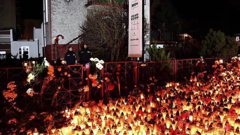 Poľsko, Koszalin, sviečky, escape room, požiar